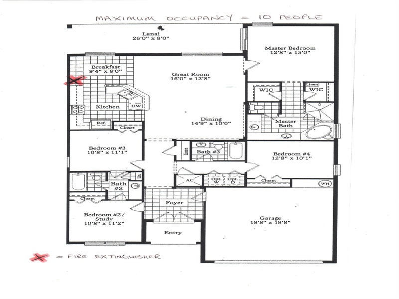 Floor Plan for 4 Bedroom Villa with Pool & Spa Overlooking a Scenic Lake